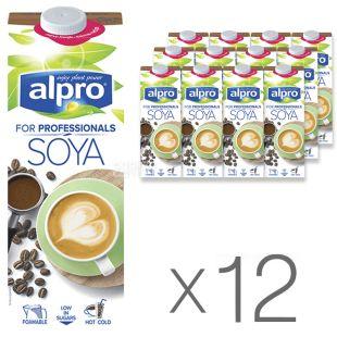 Alpro, Soya for Professionals, Упаковка 12 шт. по 1 л, Алпро, Профешнл, Соєве молоко, вітамінізоване