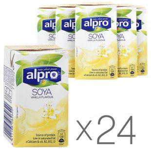 Alpro, Soya Vanilla, Упаковка 24 шт. по 250 мл, Алпро, Соевое молоко с ванилью, витаминизированное
