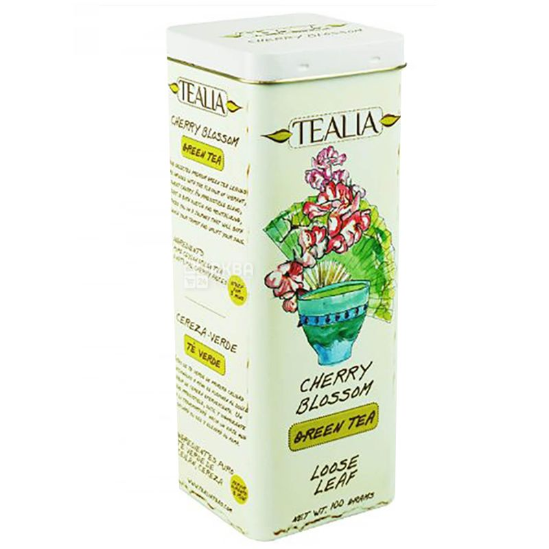 TeaLia, Cherry Blossom, 100 г, Чай ТиЛиа, Цветение вишни, зеленый, ж/б