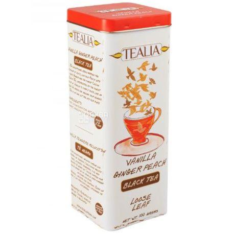 TeaLia, Vanilla, Ginger, Peach, 100 г, Чай ТиЛиа, черный, c имбирем, персиком и ароматом ванили, ж/б