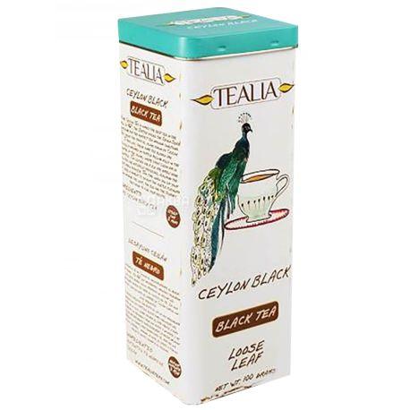 TeaLia, Ceylon, 100 г, Чай ТиЛиа, Цейлонский, черный, ж/б