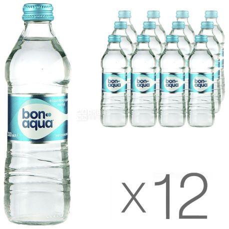BonAqua, 0,33 л, Упаковка 12 шт., БонАква, Вода минеральная негазированная, стекло