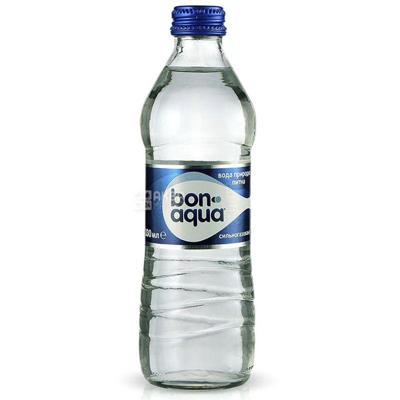 BonAqua, 0,33 л, Упаковка 12 шт., БонАква, Вода минеральная сильногазированная, стекло