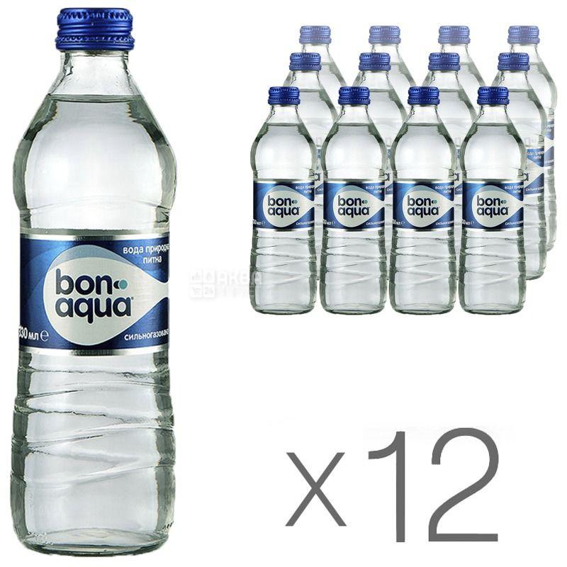 BonAqua, 0,33 л, Упаковка 12 шт., БонАква, Вода мінеральна сильногазована, скло
