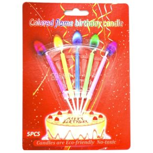 Candles with a multi-colored flame, 8.5 cm, 5 pieces, plastic packaging
