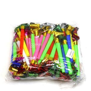 Язички свистульки 28 см, 100 шт, мікс кольорів, пакет