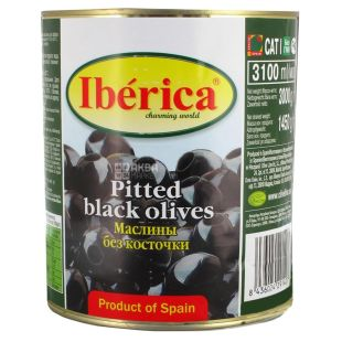 Iberica, 3100 ml, Olives, Black, pitted, w / w