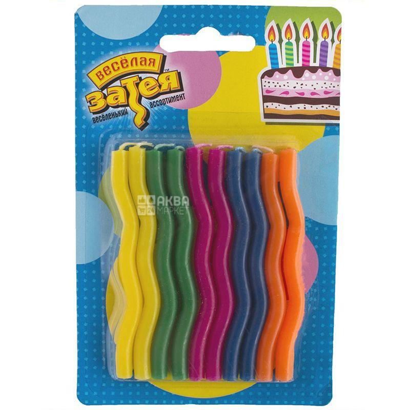 Веселая затея Зигзаг, Свечи для торта, 10 шт, Пакет