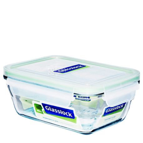 Glasslock Rectangular Glass Container with Plastic Lid, 950ml
