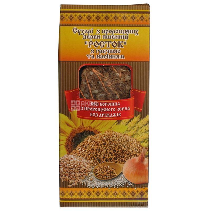 УкрЭкоХлеб Росток Сухари с проросшей пшеницы с гречкой и семенами, 150г