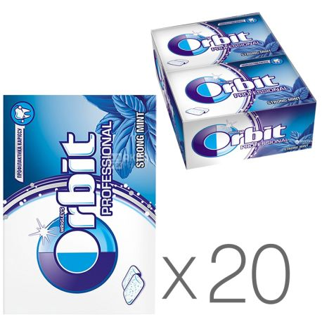 Orbit Professional Strong Mint, Жувальна гумка, Упаковка 20 шт. по 14 г, блістер