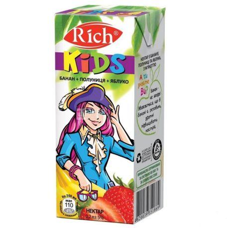 Rich Kids, Банан-клубника-яблоко, Упаковка 24 шт. по 0,2 л, Рич Кидс, Нектар натуральный, детям с 12-ти месяцев
