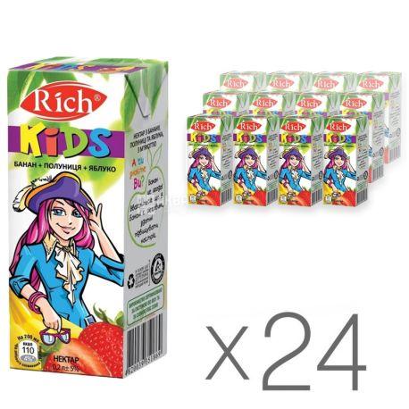 Rich Kids, Банан-полуниця-яблуко, Упаковка 24 шт. по 0,2 л, Річ Кідс, Нектар натуральний, дітям з 12-ти місяців
