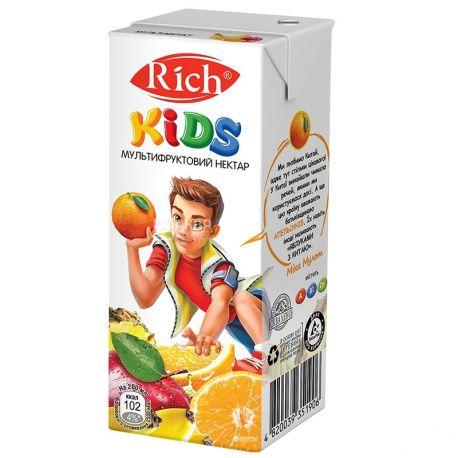 Rich Kids, Мультифруктовый, Упаковка 24 шт. по 0,2 л, Рич, Нектар натуральный