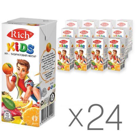 Rich Kids, Мультифруктовий, Упаковка 24 шт. по 0,2 л, Річ, Нектар натуральний