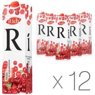 Rich, Упаковка 12 шт. по 1 л, Річ, Журавлинний, Морс натуральний, освітлений