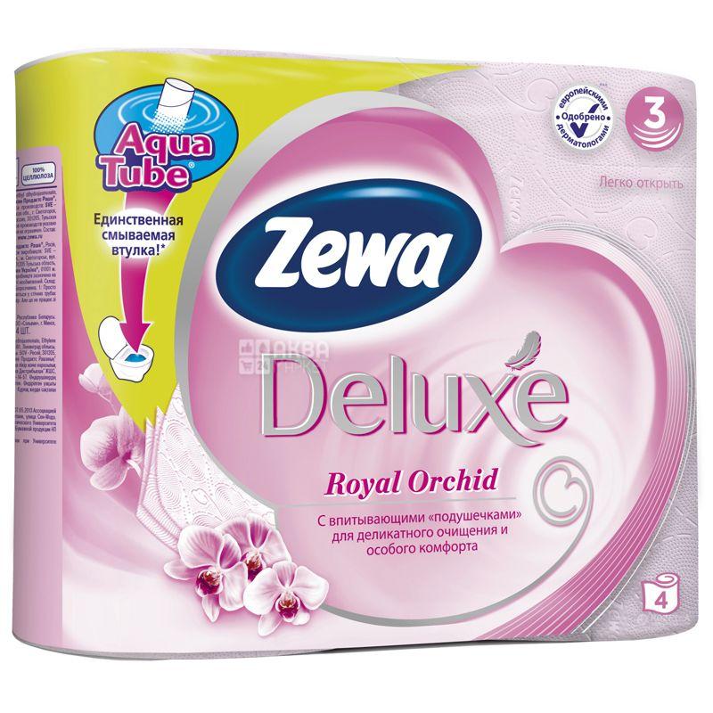 Zewa Deluxe Royal Orchid, 4 рул., Туалетний папір Зева Делюкс Роял, Орхідея, 3-х шаровий