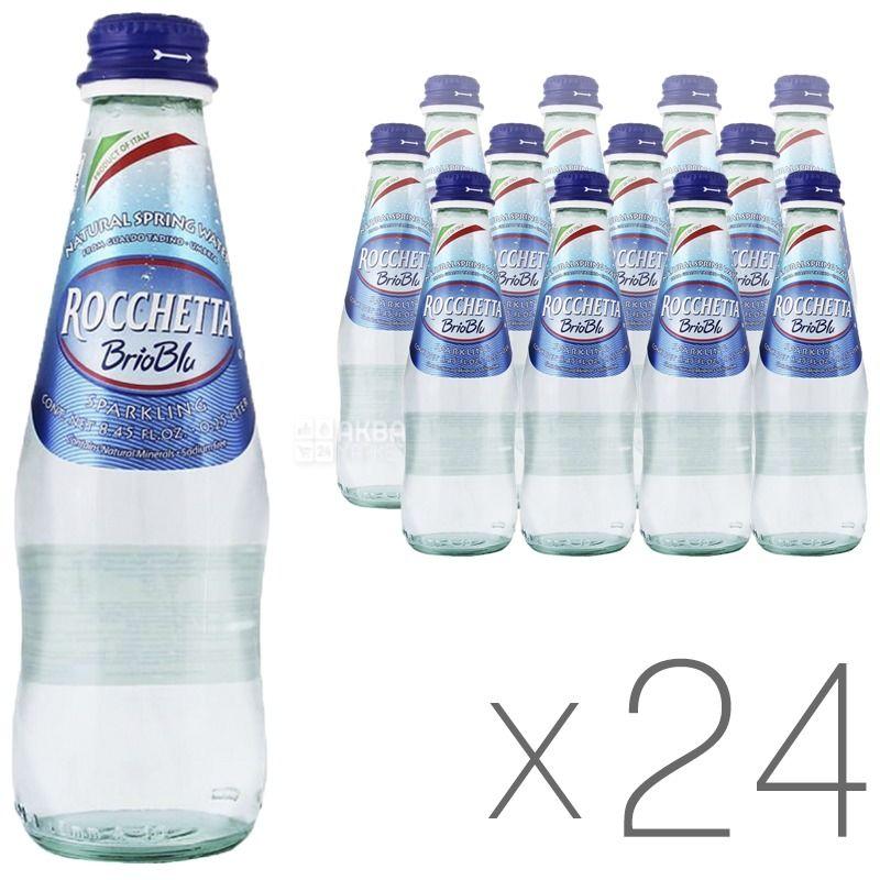 Rocchetta Brio Blu, 0,25 л, Упаковка 24 шт., Рочетта Бріо Блю, Вода мінеральна газована, скло