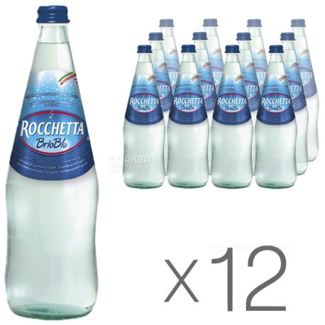 Rocchetta Brio Blu, 1л, Упаковка 12 шт., Рочетта Бріо Блю, Вода газована, скло