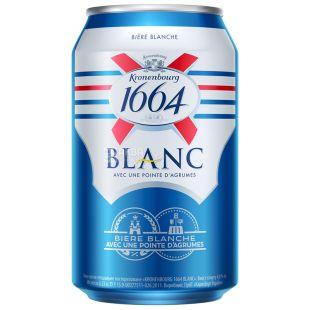 Kronenbourg 1664 Blanc пиво светлое нефильтрованное, 0,33 л, ж/б