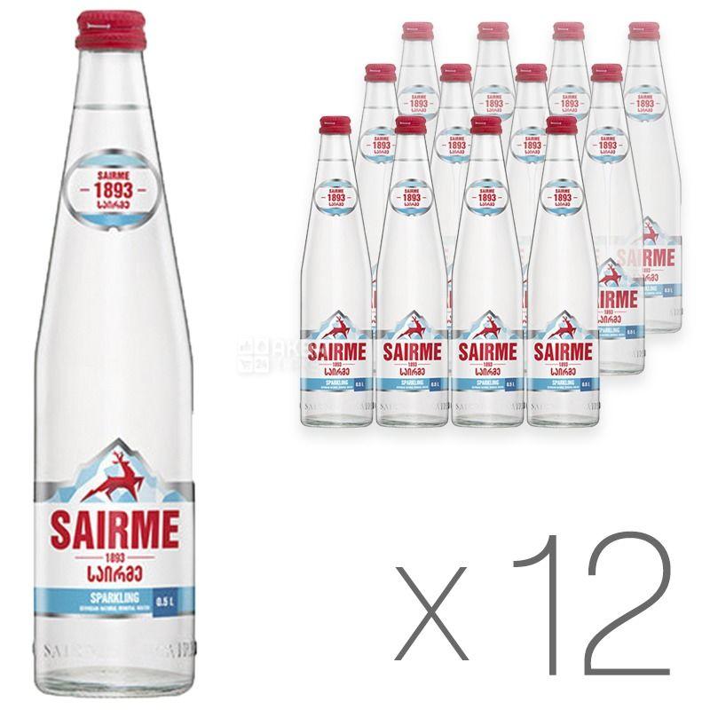 Sairme, 0,5 л, Упаковка 12 шт., Саирме, Вода минеральная газированная, стекло