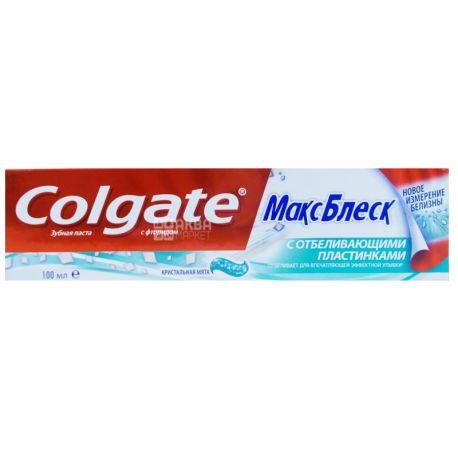 Colgate, 100 мл, Зубная паста, Макс Блеск с отбеливающими пластинками