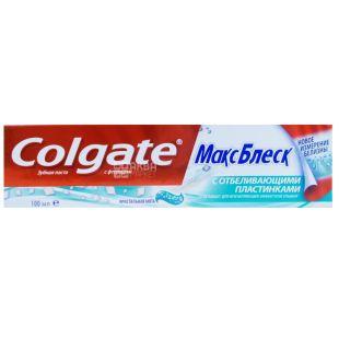 Colgate, 100 мл, зубна паста, Макс Блеск з відбілюючими пластинками
