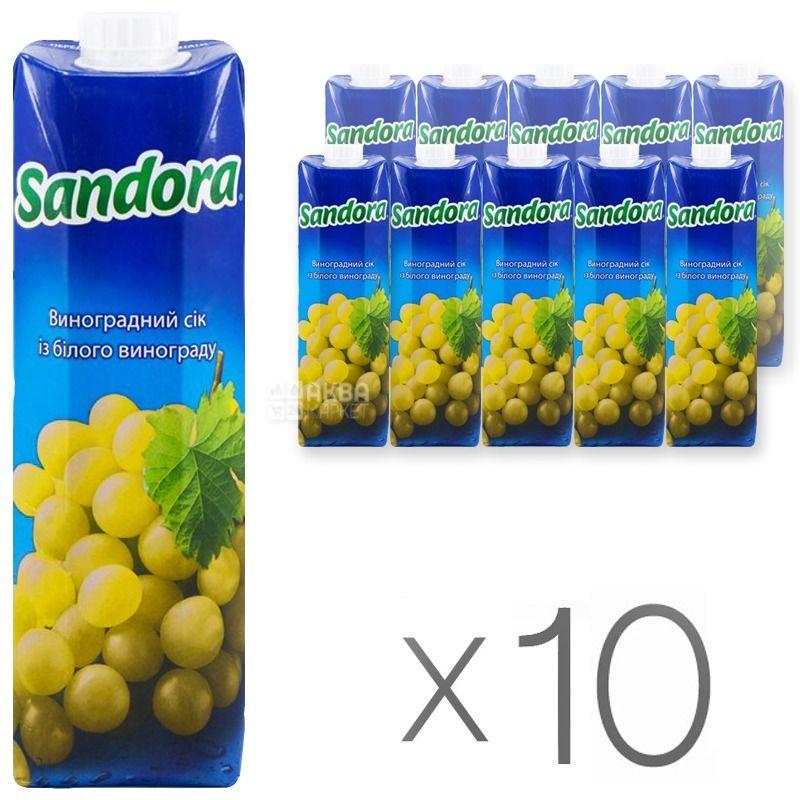 Sandora, Белый виноград, 0,95 л, Сандора, Сок натуральный,  упаковка 10 шт.