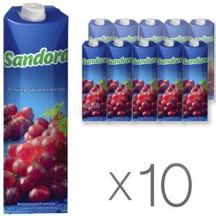 Sandora, Красный виноград, Упаковка 10 шт. по 0,95 л, Сандора, Нектар натуральный