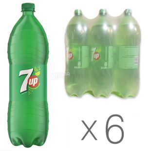 7 UP (Seven Up), Package 6 bottles. on 2 l, Sweet water, PET