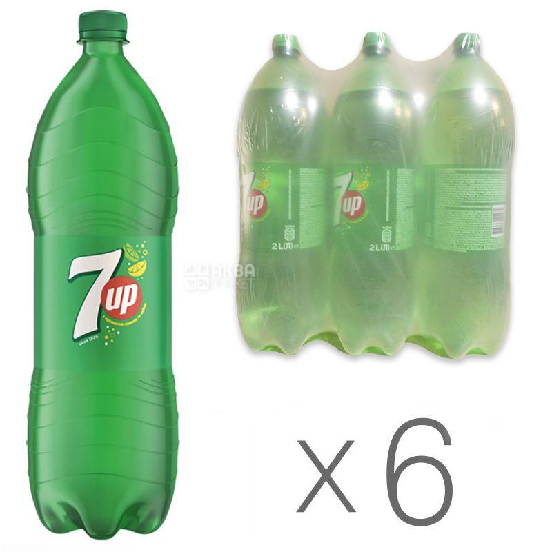 7 UP, Упаковка 6 шт. по 2 л, Севен Ап, Вода сладкая, со вкусом лимона и лайма, ПЭТ