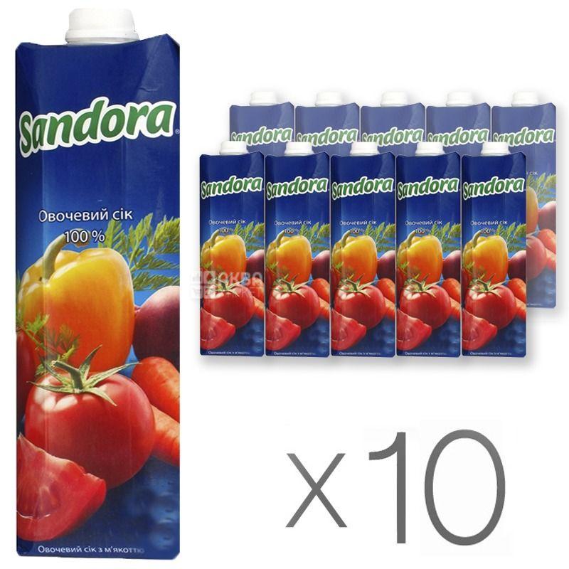 Sandora, Овощной, 0,95 л, Сандора, Сок натуральный, с мякотью, Упаковка 10 шт.