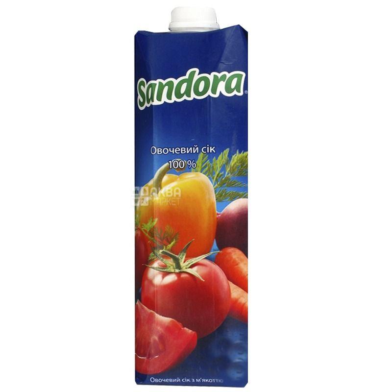 Sandora, Овочевий, 0,95 л, Сандора, Сік натуральний, з м'якоттю, Упаковка 10 шт.