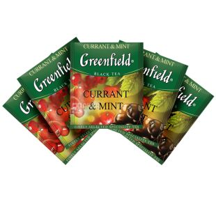Greenfield Currant & Mint Чорний байховий, Чай, 100 пакетиків, Коробка