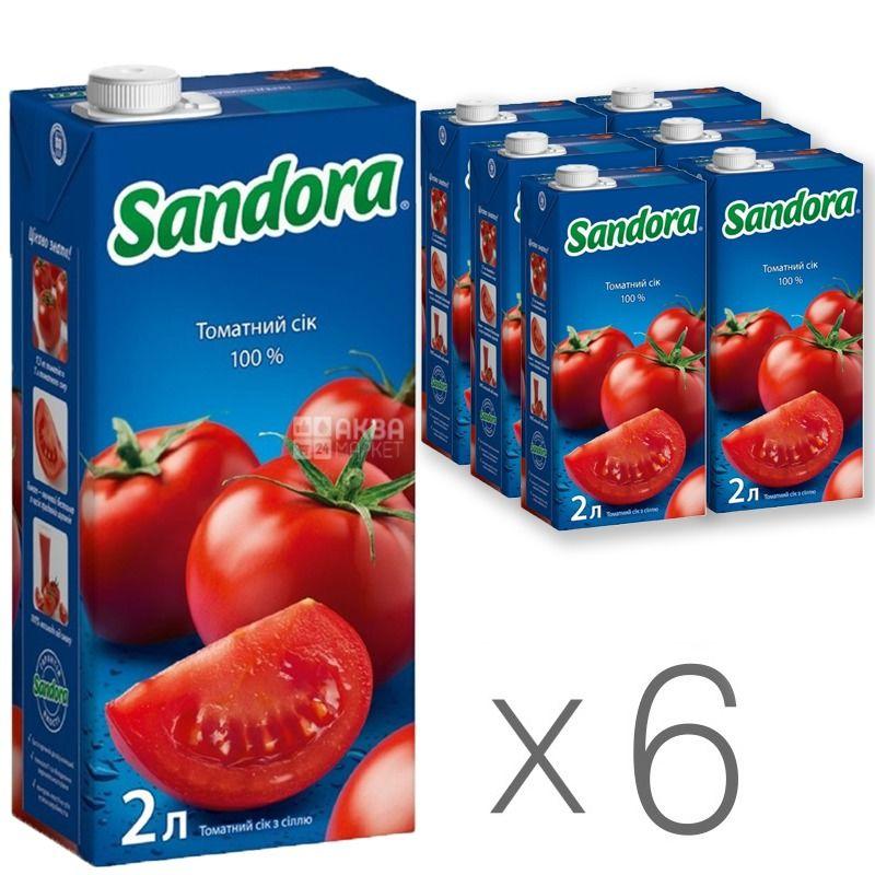 Sandora, Томатний, 2 л, Сандора, Сік натуральний, з сіллю, Упаковка 6 шт.
