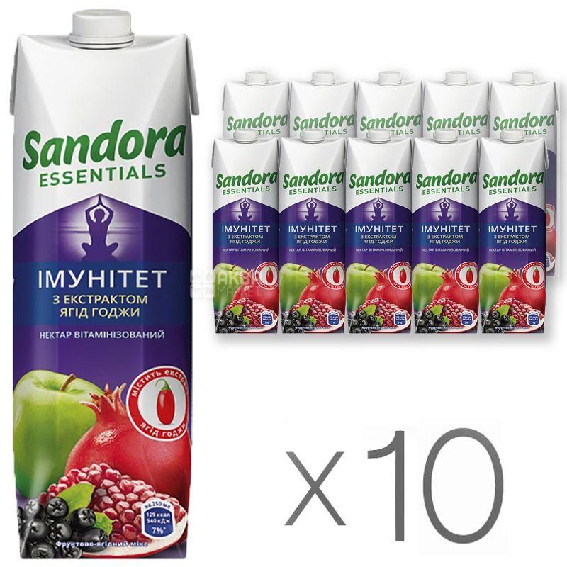 Sandora Essentials, Иммунитет, С экстрактом ягод годжи, Упаковка 10 шт. по 0,95 л, Сандора, Нектар витаминизированный