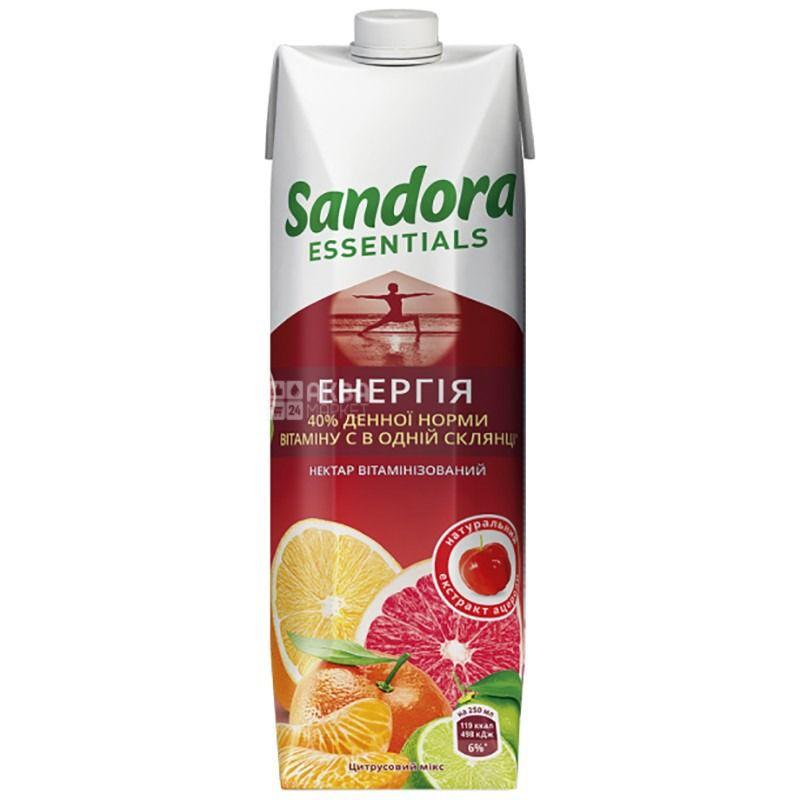 Sandora Essentials, Энергия, Цитрусовый, Упаковка 10 шт. по 0,95 л, Сандора, Нектар витаминизированный
