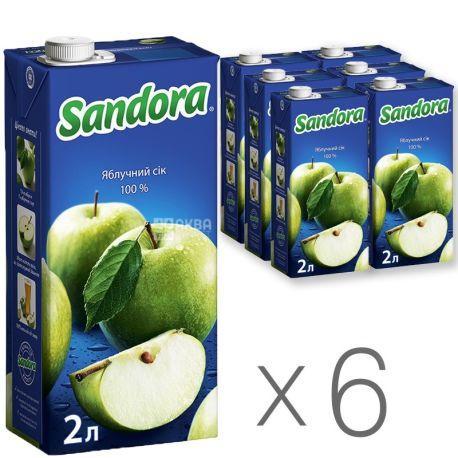 Sandora Сок яблочный, 2л, тетрапак, упаковка 6шт