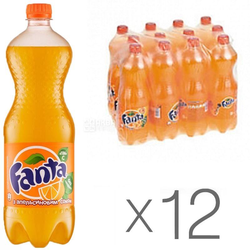 Fanta, Апельсин, Упаковка 12 шт. по 1 л, Фанта, Вода сладкая, с натуральным соком, ПЭТ