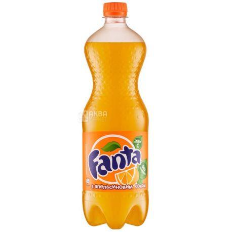 Fanta, Апельсин, Упаковка 12 шт. по 1 л, Фанта, Вода солодка, з натуральним соком, ПЕТ