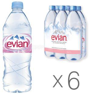 Evian Вода негазированная, 1л, ПЭТ, упаковка 6шт