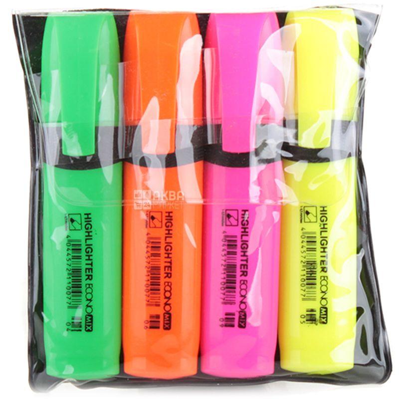 Economix Highlighter, Набор текстовых цветных маркеров, 4 шт.