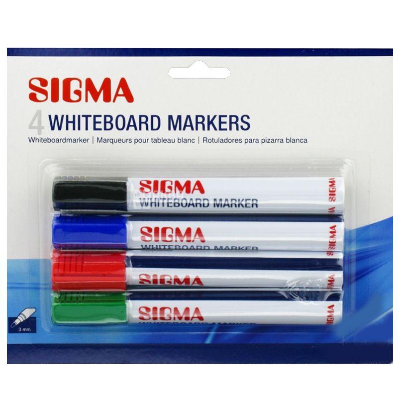 Sigma Whiteboard, Набор цветных маркеров для доски, 3 мм, 4 шт.