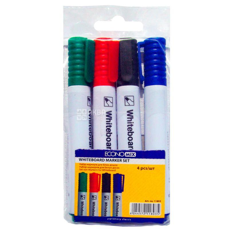 Economix Whiteboard, Набор цветных маркеров для доски, упаковка 4 шт.