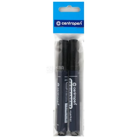 Centropen Permanent Dry Safe, Маркер черный, упаковка 2 шт.