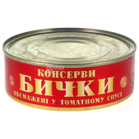 Керченские, Консервы рыбные, Бычки в томатном соусе, обжаренные, 240 г, ж/б