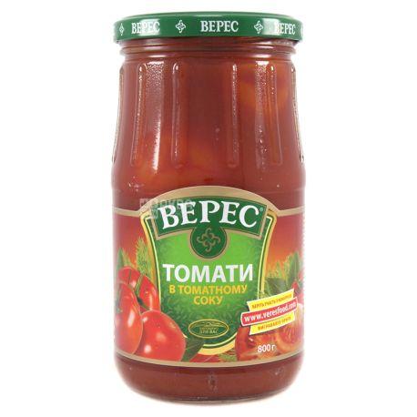 Верес, Томаты в томатном соке, 800 г, стекло