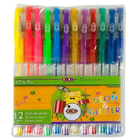 ZiBi Neon + Glitter, Набор гелевых цветных ручек, упаковка 12 шт.