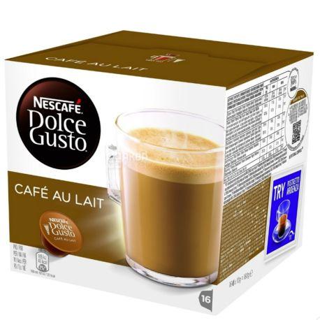 Nescafe Dolce Gusto Cafе Au Lait, 16 шт., Кофе Нескафе Дольче Густо Кафе, темной обжарки, в капсулах