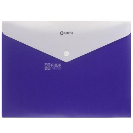 Папка-конверт А4 синя На кнопці 1 шт., ТМ Optima